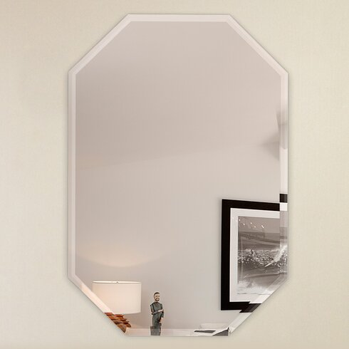 Fab Glass and Mirror Octagon Frameless Wall Mirror with 3 ...