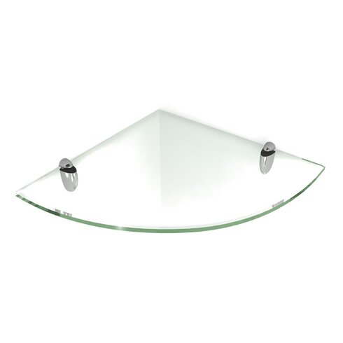 fab glass and mirror floating glass shelf with chrome brackets reviews wayfair. Black Bedroom Furniture Sets. Home Design Ideas