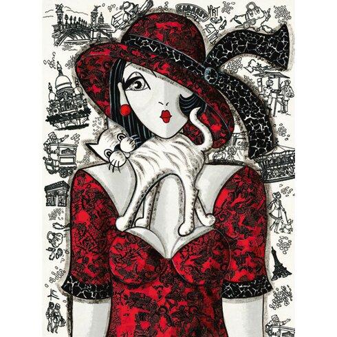 """Grafikdruck """"Chat sur robe rouge"""" von Mirota"""
