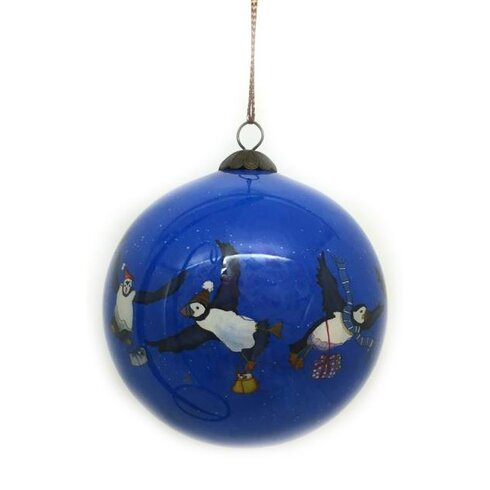 Puffin Hand Painted Glass Ball Ornament
