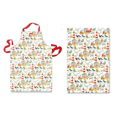 2 Piece Coastal Apron and Tea Towel Set