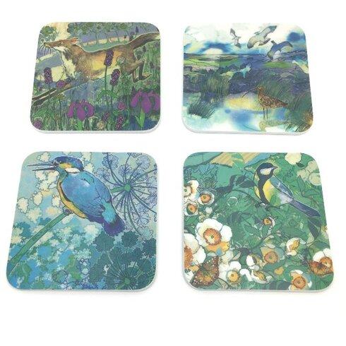 4 Piece Assorted Animal Melamine Coaster Set