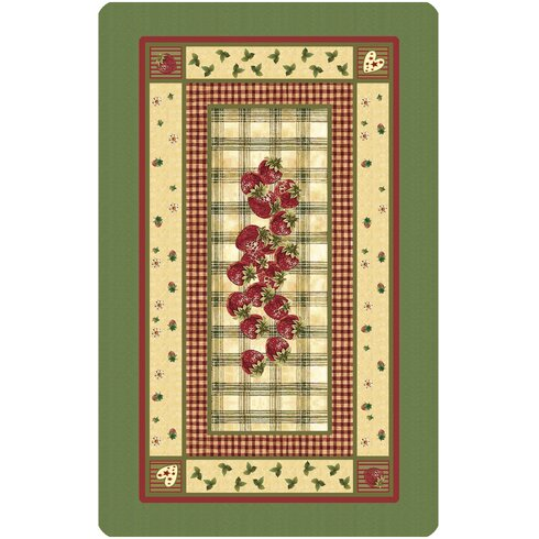 Strawberries Green Area Rug