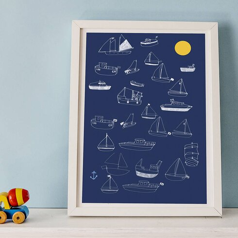 Boat and Sun by Hanna Melin Framed Graphic Art