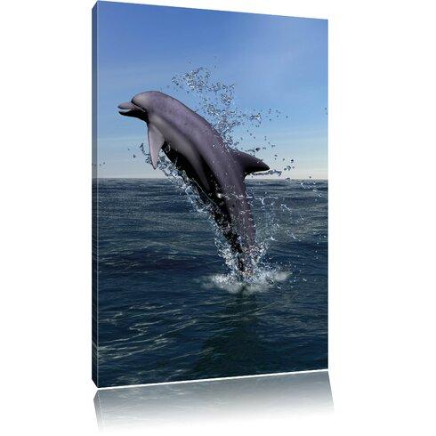 pixxprint leinwandbild delphin sprint im meer. Black Bedroom Furniture Sets. Home Design Ideas