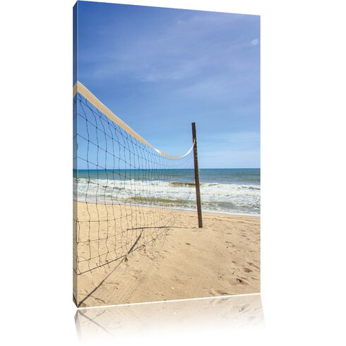 Volleyball Net on the Beach Photographic Print on Canvas