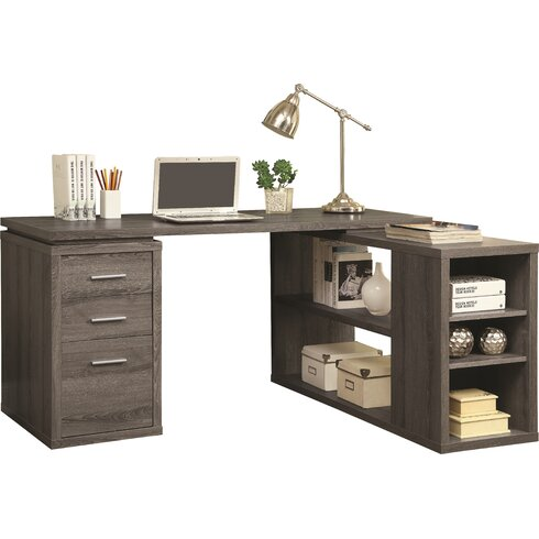 Mercury Row Senga Down 3 Drawer L Shape Computer Desk