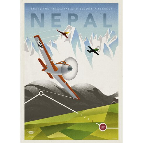 Nepal Travel Vintage Advertisement Wrapped on Canvas