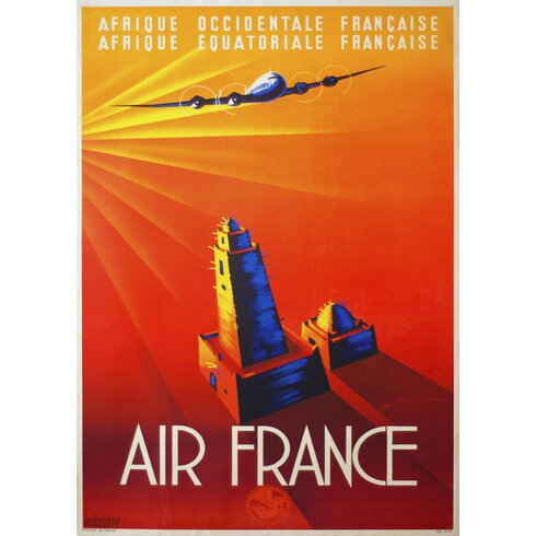 Air France Travel Vintage Advertisement Wrapped on Canvas