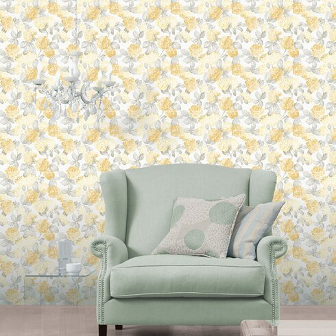 English on White Ground 10m L x 53cm W Floral and Botanical Roll Wallpaper