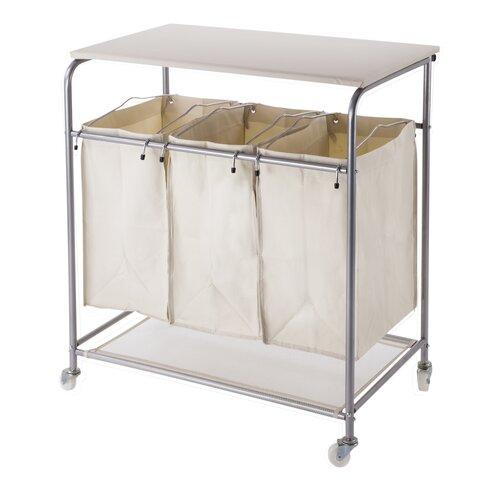 nova furniture triple sorter laundry cart hamper with ironing board reviews wayfair. Black Bedroom Furniture Sets. Home Design Ideas