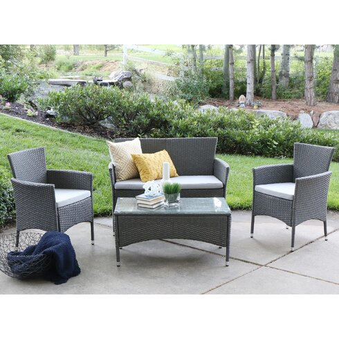 Angelo home baxter 4 piece lounge seating group with cushions reviews wayfair Angelo home patio furniture