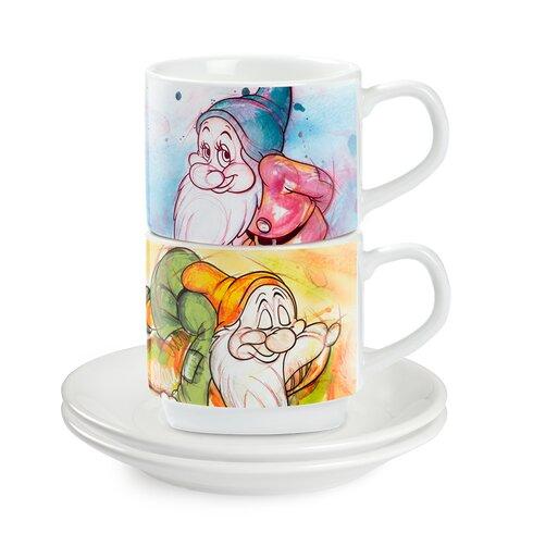 4 Piece Espresso Cup Bashful and Sleepy with Saucer Set