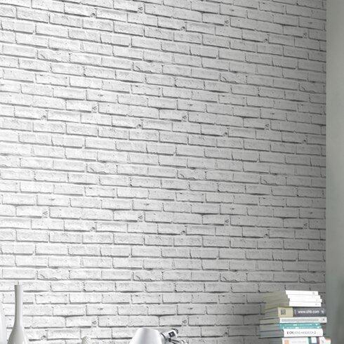 Brick 10.05m L x 53cm W Roll Wallpaper