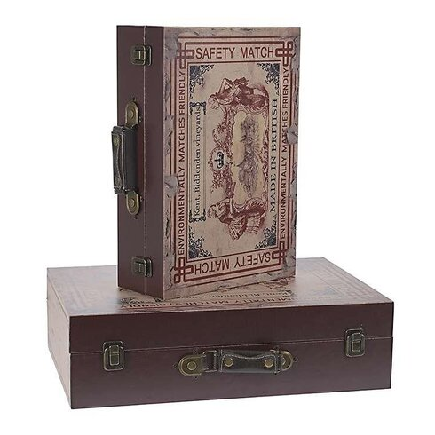 2 Piece Wooden and Metal Box Set