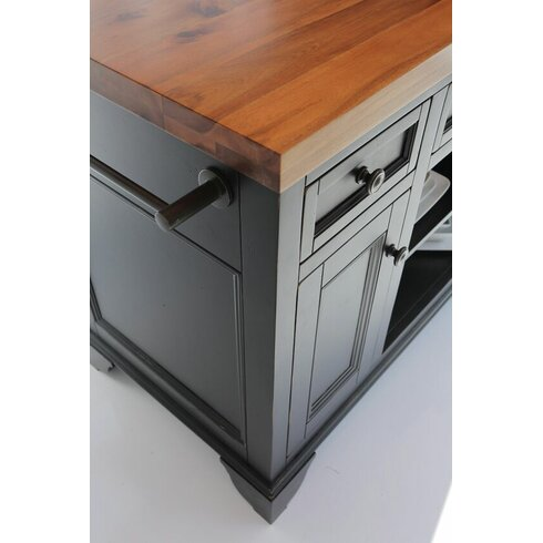 Sutton kitchen island with wood top reviews allmodern for All wood kitchen island