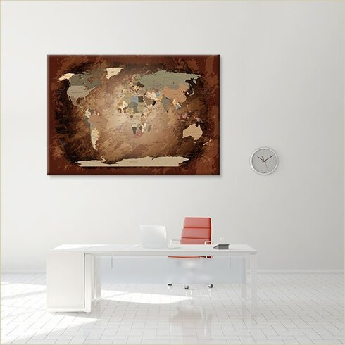 World Map Intensive - German Graphic Art on Canvas in Brown