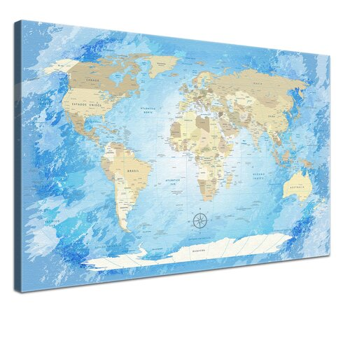 World Map Frozen - Spanish Graphic Art on Canvas in Blue