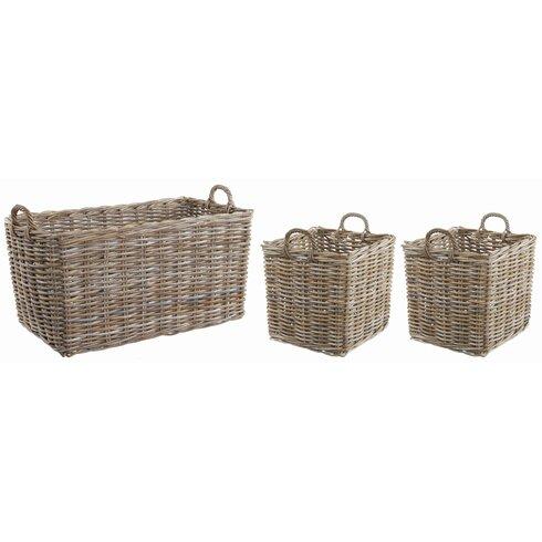 3 Piece Rectangle Rattan Basket Set