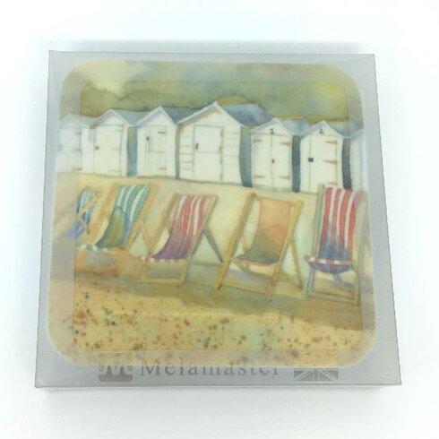 Beach Huts and Deckchairs Melamine Coaster