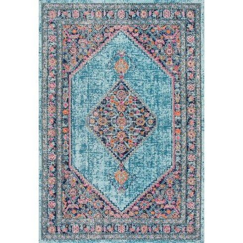 babita blue pink area rug reviews allmodern. Black Bedroom Furniture Sets. Home Design Ideas