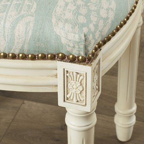 123 Creations Coastal Seashells Linen Upholstered Vanity Stool Reviews Wayfair