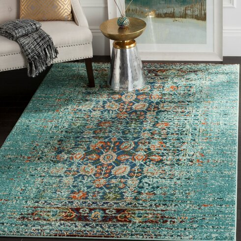 Mercury row artemis blue multi area rug reviews wayfair for How to pick a rug color
