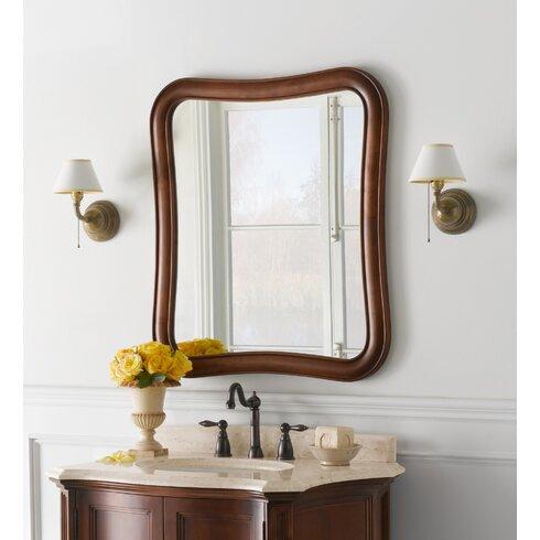 Vintage Fancy Solid Wood Framed Bathroom Mirror in Colonial Cherry