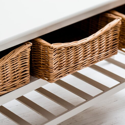 Country Farmhouse Storage Hallway Bench
