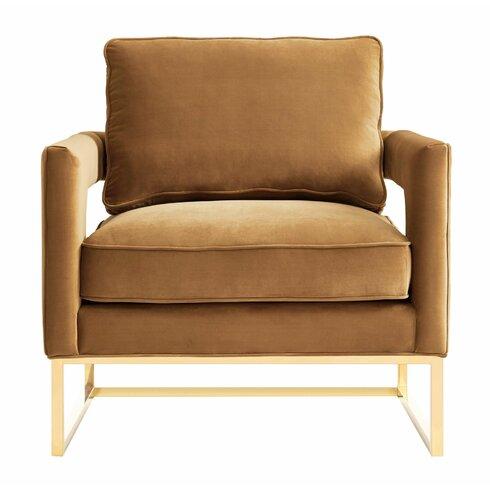 Mercer41 Ryder Cognac Velvet Chair Amp Reviews Wayfair