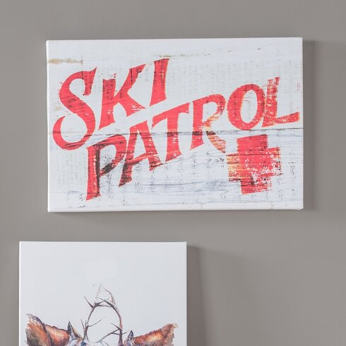 'Ski Patrol' Vintage Typography on Canvas