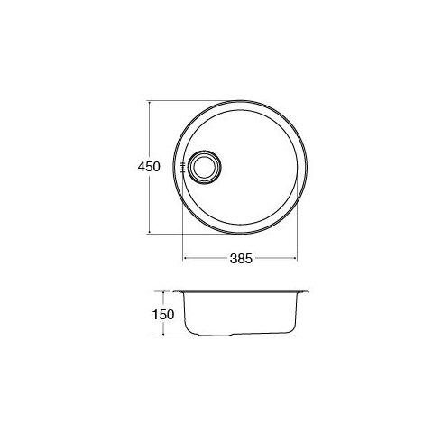 45cm x 45cm Round Kitchen Sink