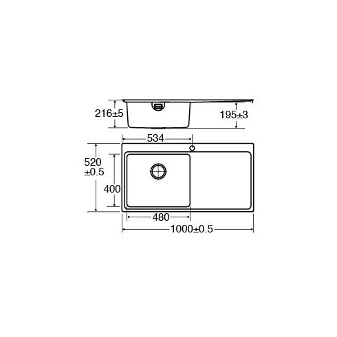 100 cm x 52 cm Single Bowl Flush Right Handed Fit Kitchen Sink