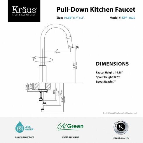 Kraus Premium Chrome  Handle Pull Down Kitchen Faucet