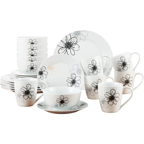 Porcelain 24 Piece Dinnerware Set