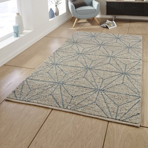 Alpha Hand-Knotted Beige/Blue Area Rug