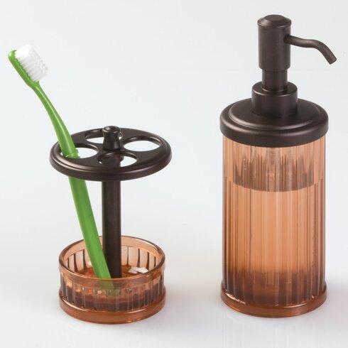 Interdesign alston 4 piece bathroom accessory set for Bathroom 4 piece set