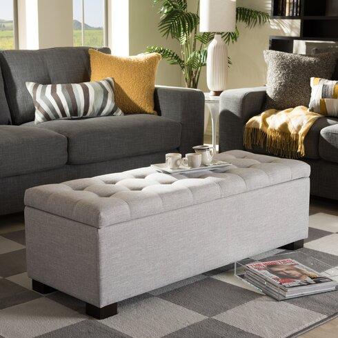 Latitude run kareem upholstered storage bedroom bench - Bedroom storage bench upholstered ...