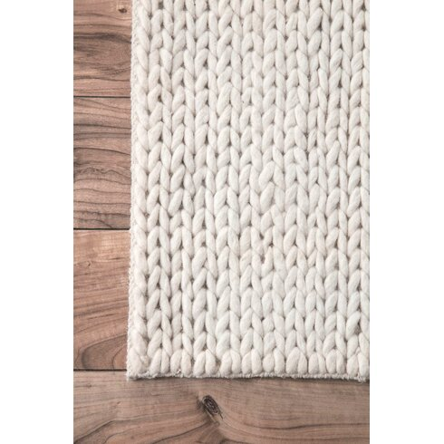 Bungalow Rose Zayan Meika Chunky Wool Cable Beige Area Rug