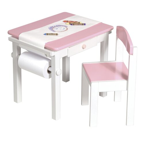 Budding Artist Kids 3 Piece Pink Rectangle Table and Chair Set