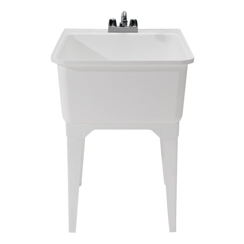 cashel essential x single free standing laundry sink with faucet reviews wayfair. Black Bedroom Furniture Sets. Home Design Ideas