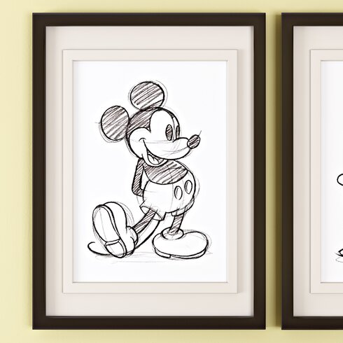 'Mickey Mouse Sketched' Framed Drawing Print