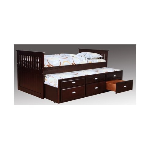 twin captain bed with trundle and underbed storage - Twin Bed With Mattress Included