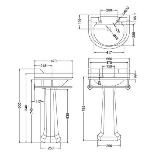 Edwardian 56cm Regal Full Pedestal Round Basin with Towel Rail