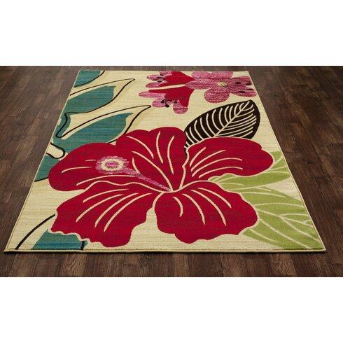 Art Carpet Antigua Hibiscus Yellow Red Indoor Outdoor Area