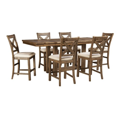 Laurel foundry modern farmhouse hillary rectangular for Counter height extendable dining table