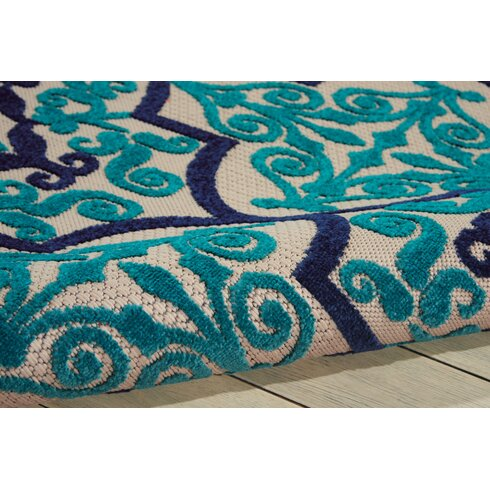 Bay Isle Home Seaside Navy Teal Indoor Outdoor Area Rug