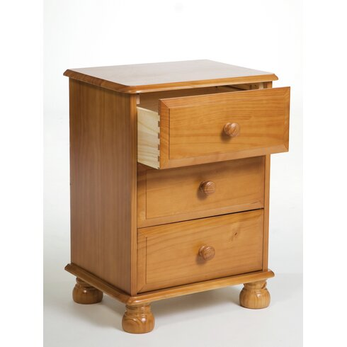 Apollo 3 Drawer Bedside Table