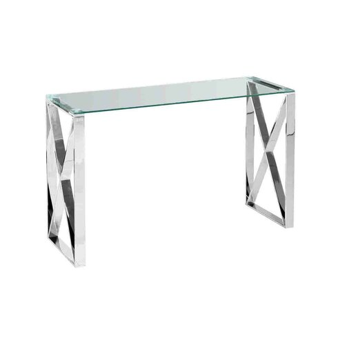 Sagebrook Home Stainless Steel And Glass Console Table