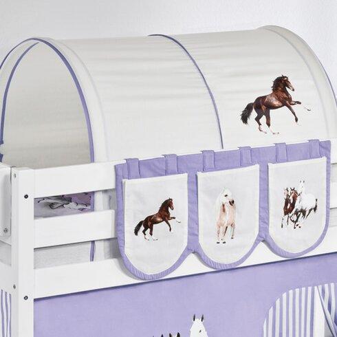 Hochbett Pferde mit Vorhang und Lattenrost